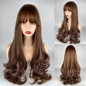 URCGTSA Long Brown Ombre Synthetic Wigs for Women Natural Hair Wavy Wigs Pink Brown Blonde Heat Resistant Female Wig Cosplay