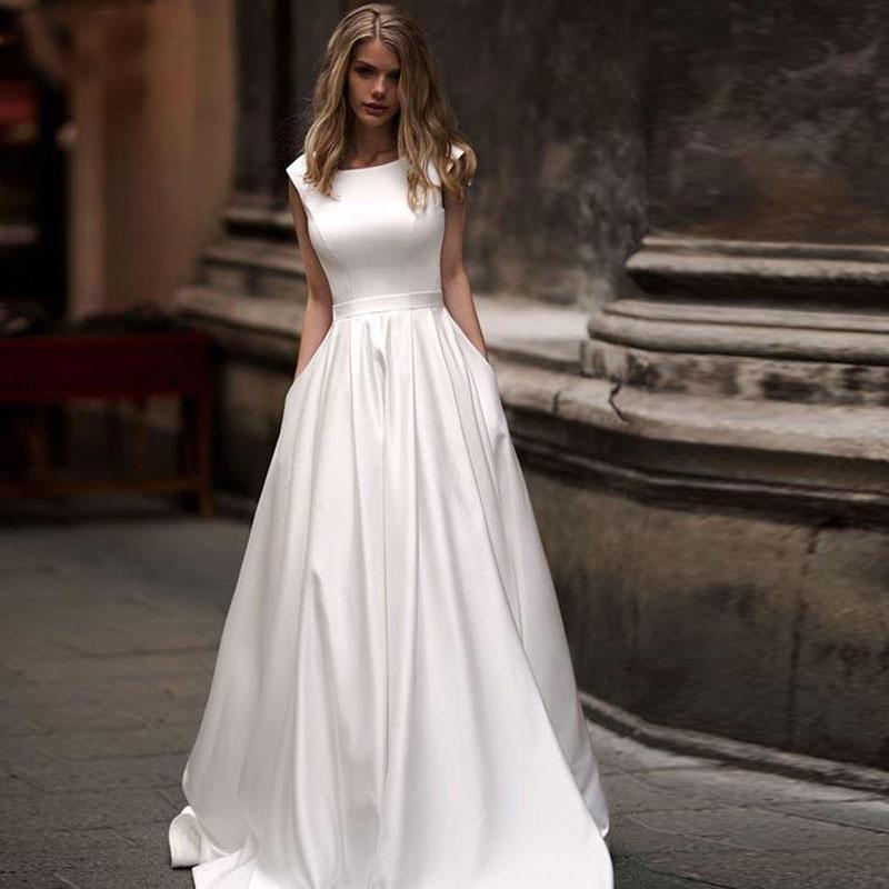 ivory white robe satin wedding party Dress Robe De Soiree longue Formal simple robe de soiree bride to be атласное платье