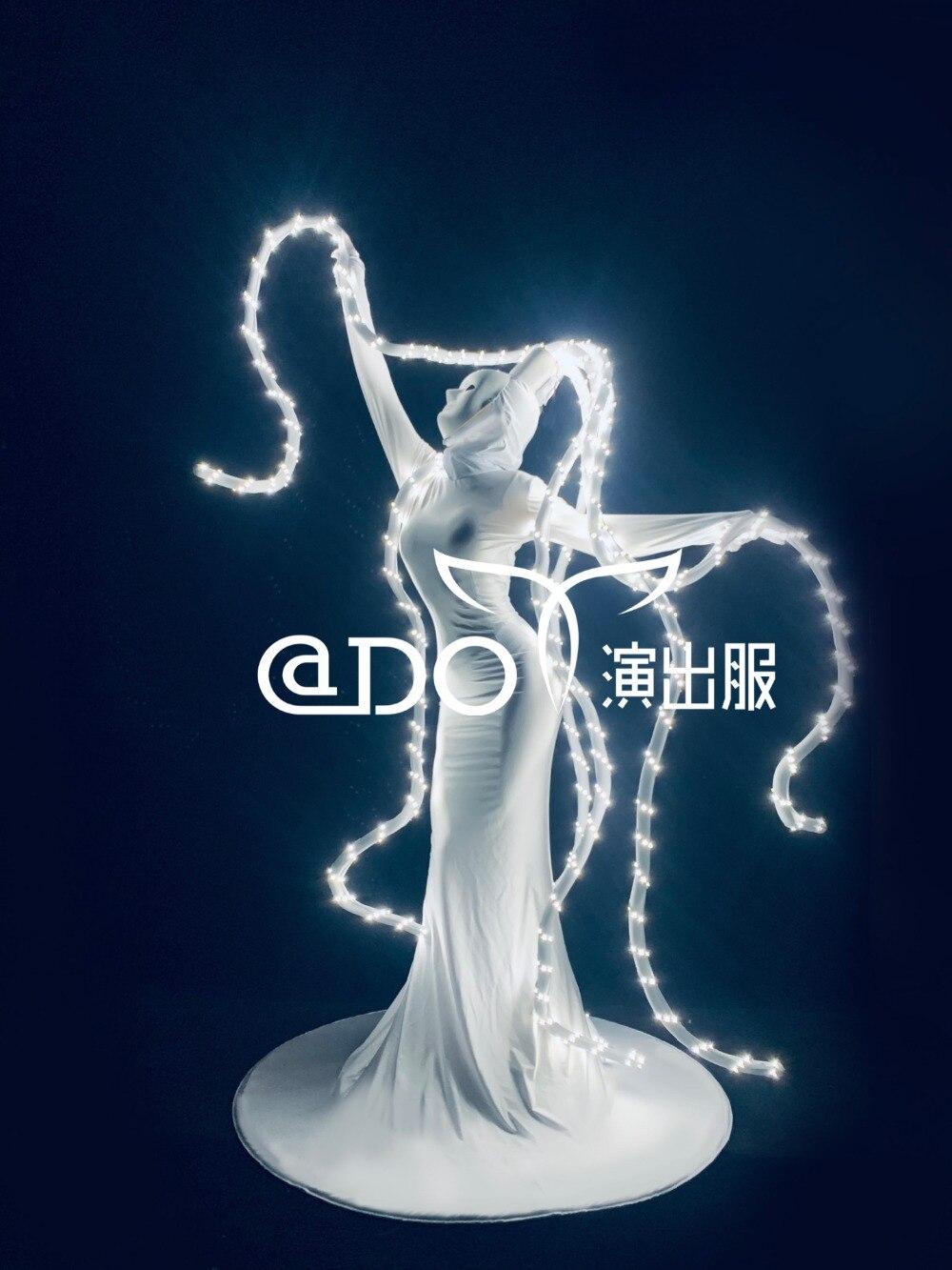 تنورة ضوء LED ، فستان حفلة هالوين ، تأثيري ، بار ، ملهى ليلي ، عرض GOGO ، الأخطبوط الأبيض