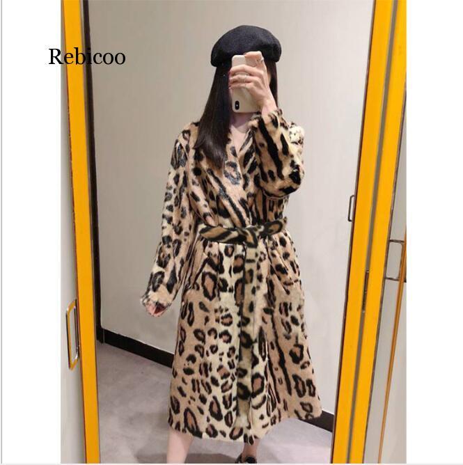 Abrigo de piel de imitación con estampado de leopardo de manga larga con cinturón Turn Down Collar chaqueta de piel de invierno abrigo de mujer Teddy Coat Fourrure Femme