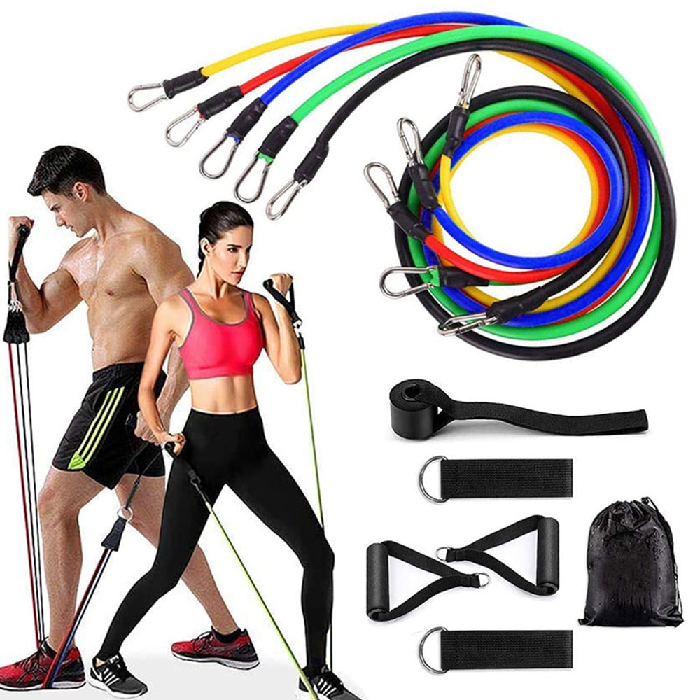 Training Expander Fitness Bands Resistance Gym Equipment Exercise Bands Pull Rope Fitness Elastic 11 Pcs Resistance Bands Set 11 pcs resistance bands set fitness bands equipment expander exercise resistance bands with handles pull rope elastic training