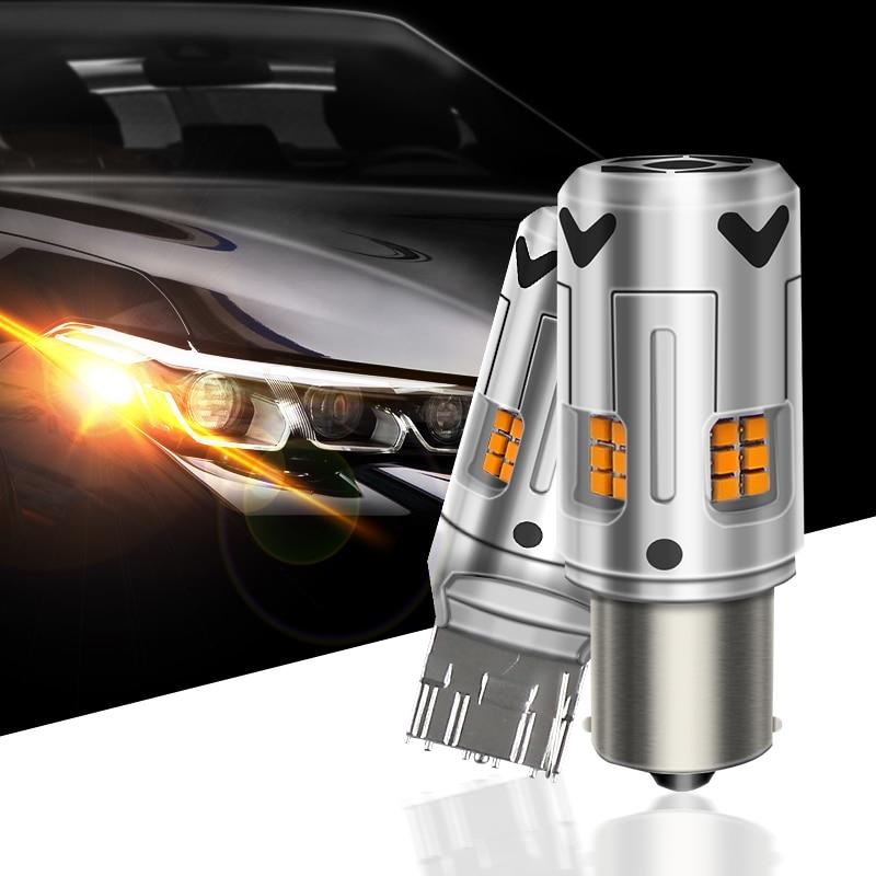 2x سيارة 7440 LED لا فرط فلاش العنبر الأصفر 16-SMD 3232 LED T20 W21W 1156 7507 BAU15S LED لمبات لتحويل أضواء الإشارة ، Canbus