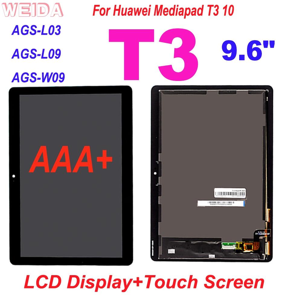 "AAA + 100% probado LCD para Huawei Mediapad T3 10 9,6 ""AGS-L03 AGS-L09 AGS-W09 T3 pantalla LCD de montaje de digitalizador con pantalla táctil de herramientas"
