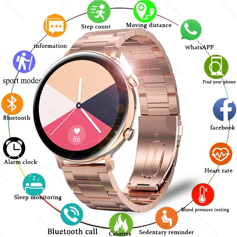 2021 New Smart Watch Women IP68 Waterproof Heart Rate ECG PPG Monitor Smartwatch For Samsung Huawei Bluetooth Call Ladies Watch