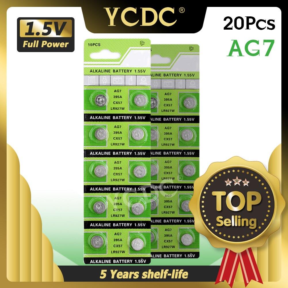 Ycdc 20 pçs/lote 1.55v ag7 sr927sw v395 pilhas alcalinas g7 lr57 lr927 sr927w 395 botão da moeda bateria para brinquedos de relógio remoto