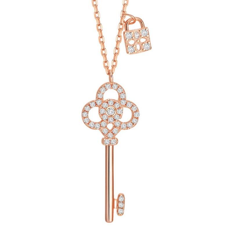 Collar con llave de plata de ley 925 para mujer, Gargantilla simple con cierre de temperamento y cabeza de diamante, moda de nicho ins para mujer