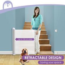 Wysuwana konstrukcja barierka zabezpieczająca dla dzieci lekka, wytrzymała siatkowa brama dla psa do drzwi schody korytarze wewnątrz/na zewnątrz