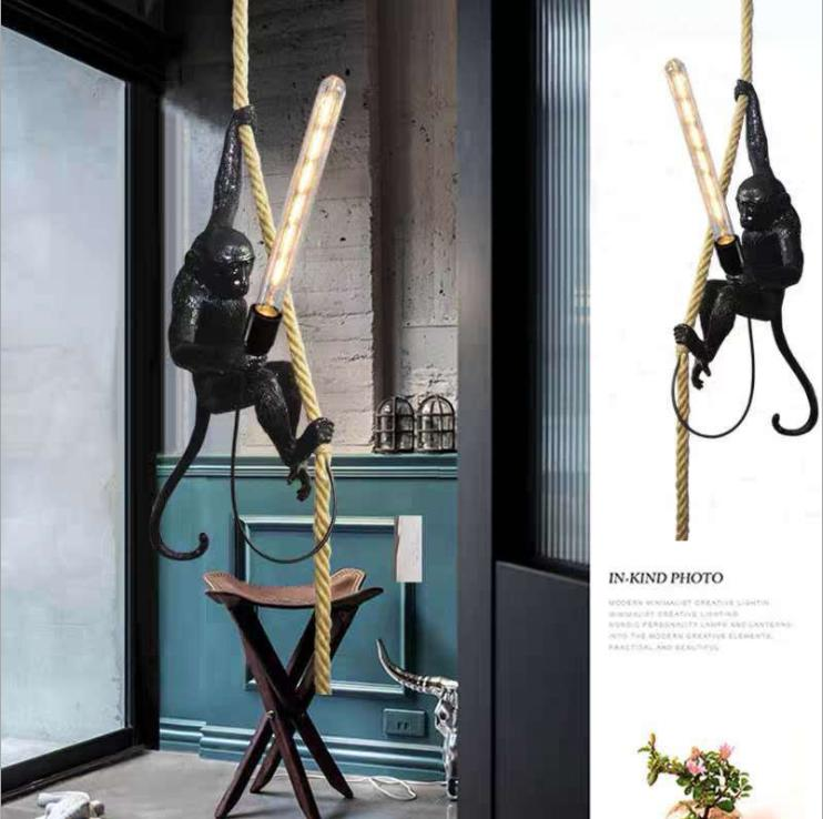 Modern LED Resin Monkey Pendant Lamps For Living Room  Art Hanging Lamp Bedroom Kids Lighting