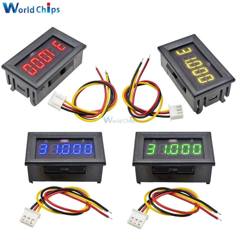 DC 0-33.000V 3 Wire 5 Digit 0.36 inch LED Digital Voltmeter Voltage Meter 5V 12V 24V Volt Detector Tester Red/Blue/Green/Yellow