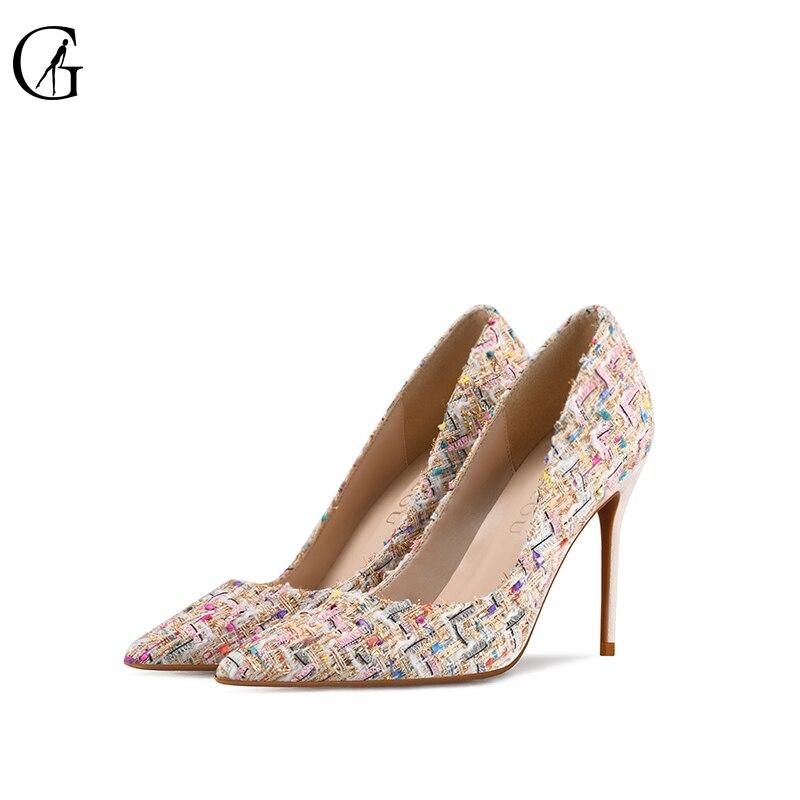 Goxeou bombas femininas padrão de tecelagem apontou dedo do pé stiletto salto vestido bomba festa moda senhoras sapatos tamanho grande 32-46