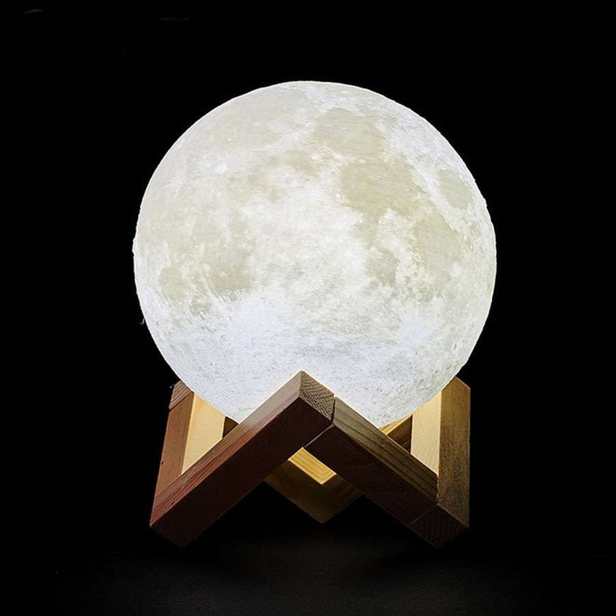 3D Print Rechargeable Moon Lamp LED Night Light Creative Touch Switch Moon Light For Bedroom Decorat