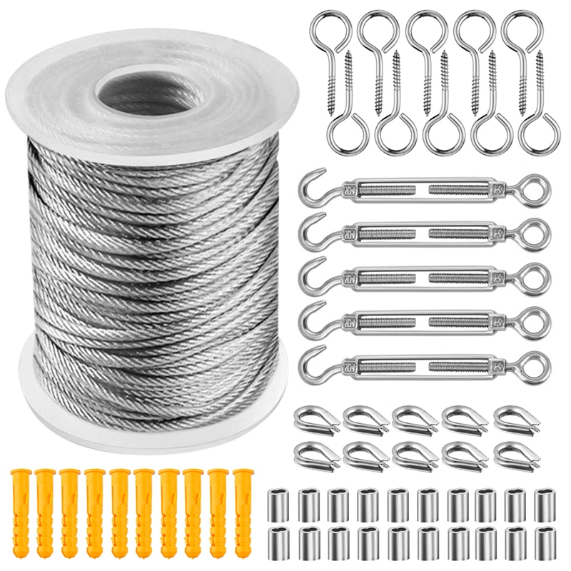 57PCS/Set 30 Meter Steel PVC Coated Flexible Wire Rope Soft Cable Transparent Stainless Steel Clothesline Diameter 2mm Kit