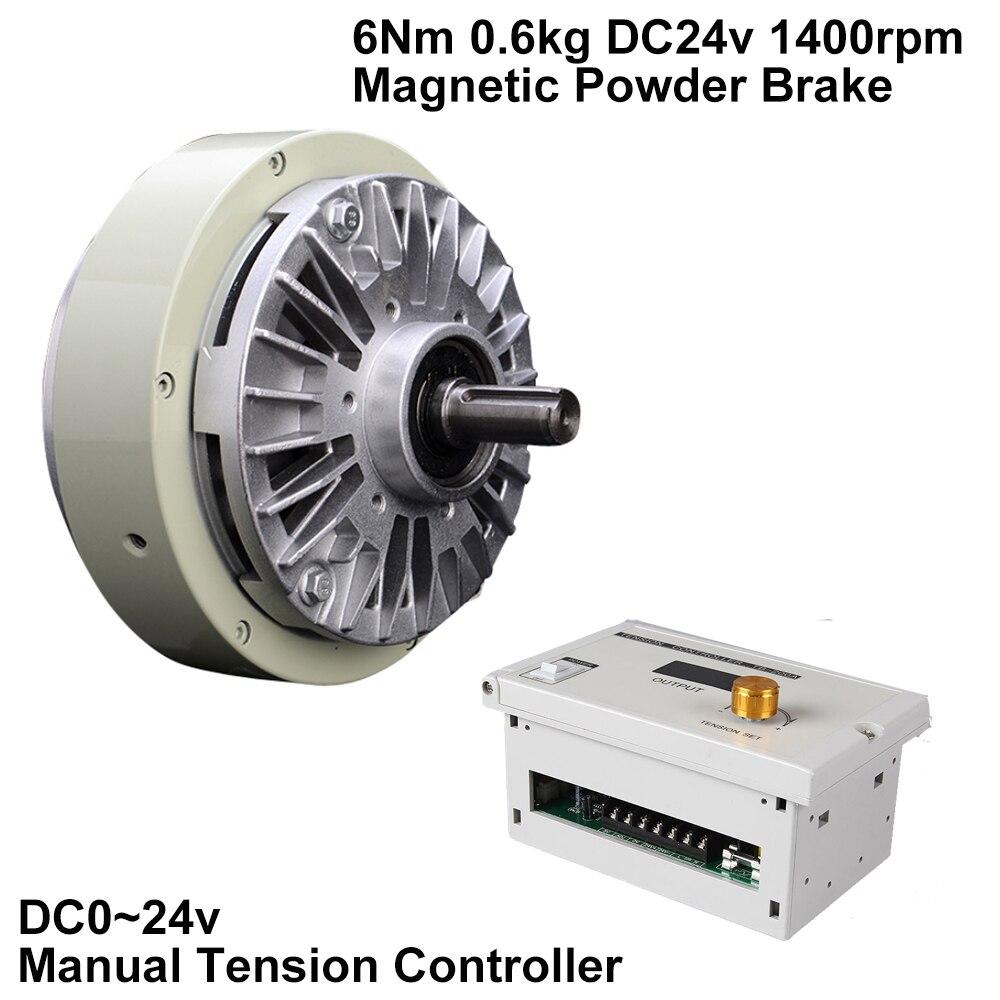 Magnetic Powder Brake 6Nm 0.6kg DC 24V One Single Shaft W/Manual Tension Controller Kits for Bagging Printing Dyeing Machine