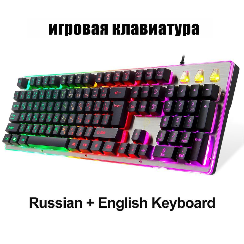 Teclados para juegos de 104 teclas RGB LED retroiluminado con cable mecánico teclado ruso para ordenador portátil Tablet Gamer