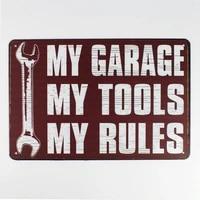 metal tin sign 2030 cm my garage my tools my rules sticker decor bar pub home vintage retro poster comic sticker