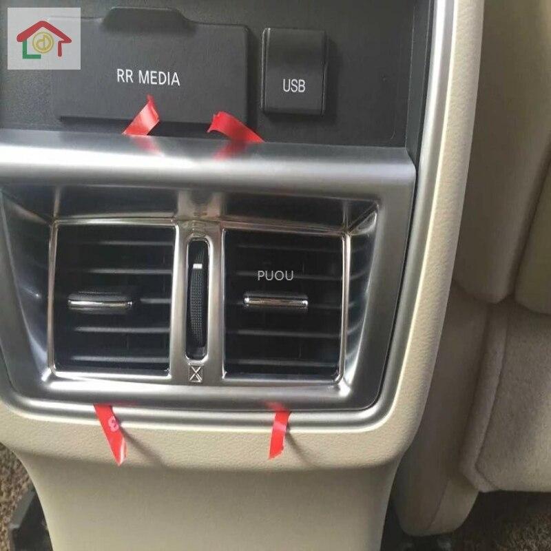 Para Nissan Murano 2016 -2019 cromo tablero delantero apoyabrazos trasero aire cubierta de salida de ventilación molduras de Marcos moldura Surround