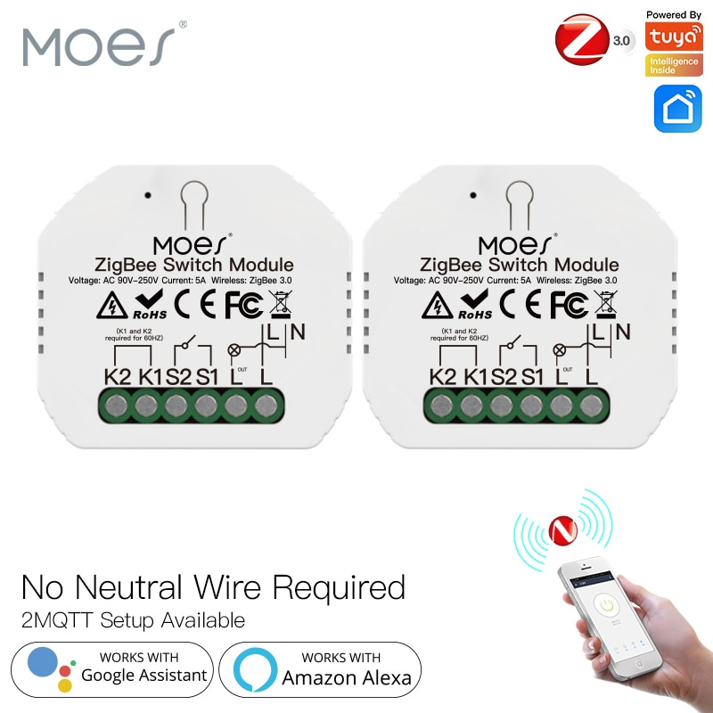 Moes Tuya زيجبي وحدة تبديل الضوء الذكية لا سلك محايد واحد النار الحياة الذكية App التحكم يعمل مع أليكسا جوجل الرئيسية