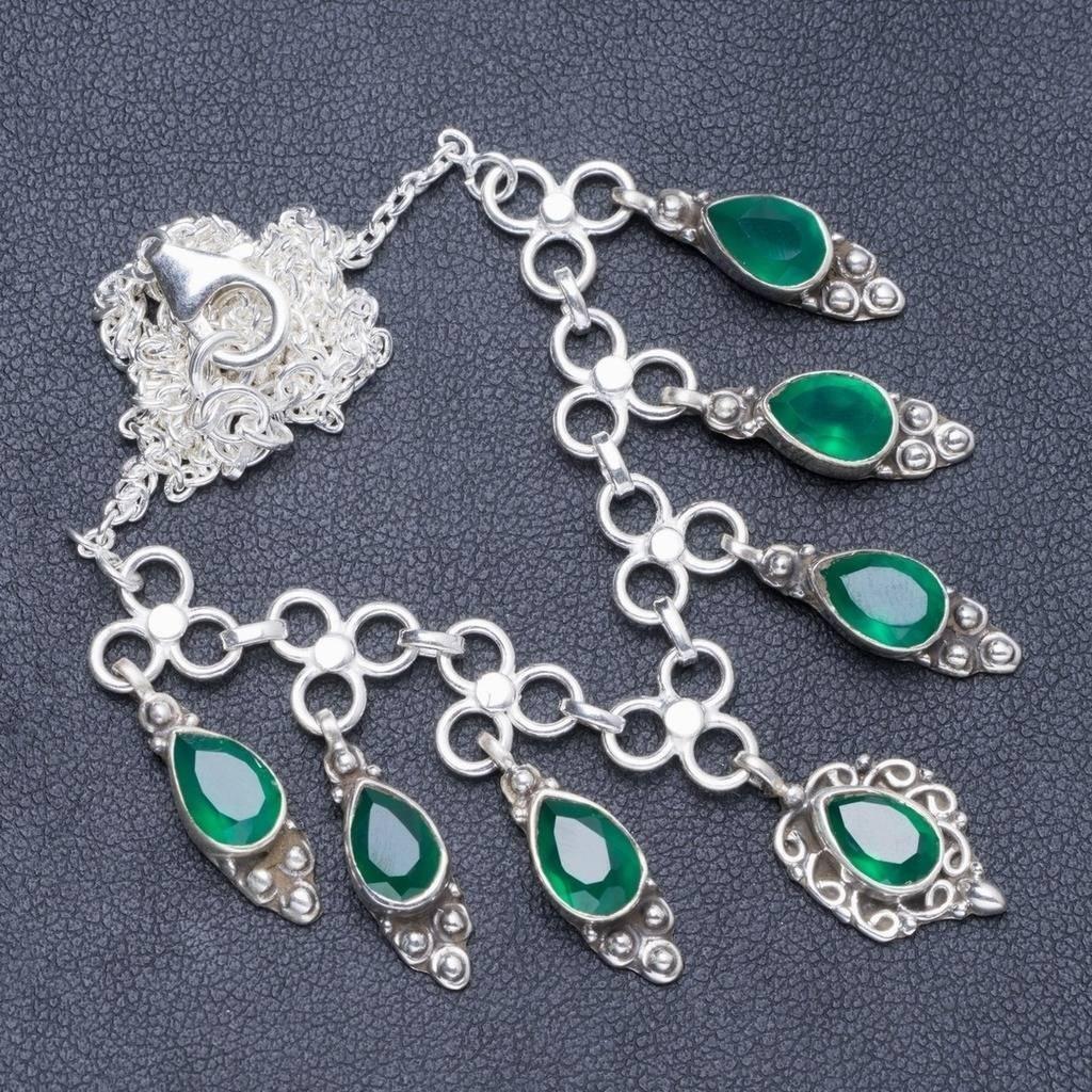 Натуральный Chrysoprase ручной работы уникальное ожерелье из стерлингового серебра 925 пробы 16,5 + 1