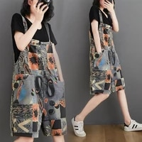 suspender shorts womens fashion high waist wide leg painted casual overalls 2021 summer literary retro suspender trousers jeans