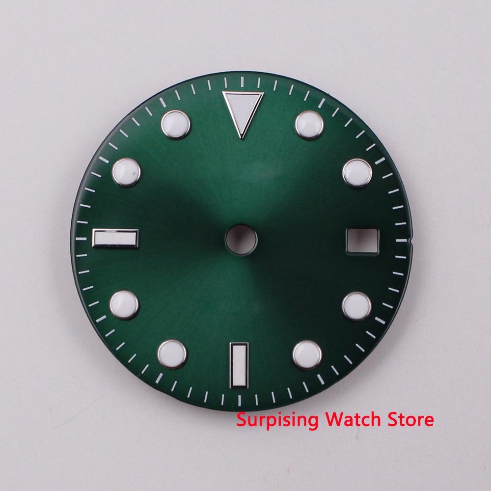 28,5mm logotipo luminoso abertura para fecha rojo esfera del reloj fit ETA 2824 2836 MIYOTA 8215 821A Mingzhu DG2813 movimiento automático