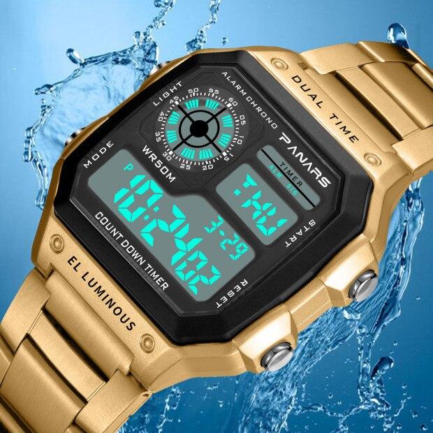 SYNOKE, reloj deportivo Digital para hombre, reloj de pulsera resistente al agua de acero inoxidable, reloj Digital para hombre