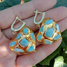 Y · YING naturalny niebieski Larimar w kształcie serca żółty złoty kolorowy platerowany dynda kolczyki LeverBack