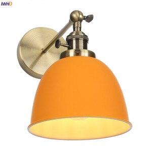 Светодиодный настенный светильник IWHD в скандинавском стиле, лампа для спальни, бара, зеркала, лестницы, современное оранжевое бра