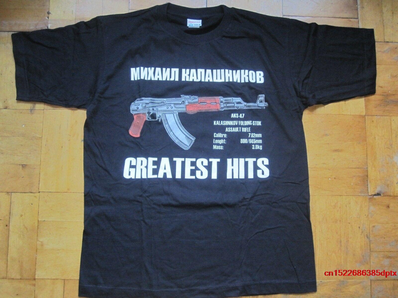 Camiseta de arma rusa AK-47 KALASHNIKOV riffle negro Rusia USSR ejército CCCP camiseta de hombre Russia cccp