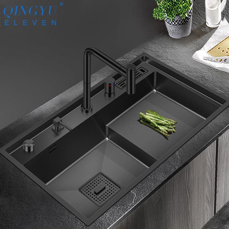 QINGYU ELEVEN 2020-حوض مطبخ مصنوع يدويًا من الفولاذ المقاوم للصدأ ، حوض نانومتر ، سمك 4 مللي متر ، عمق 220 مللي متر ، 304