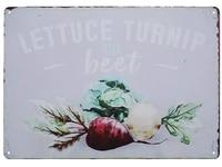 lettuce turnip beet tin sign art wall decorationvintage aluminum retro metal sign