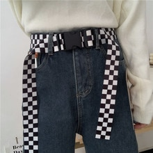 INS Simple Plaid Canvas Female Korean Style Personality All-Match Release Buckle Jeans Belt Trendy F