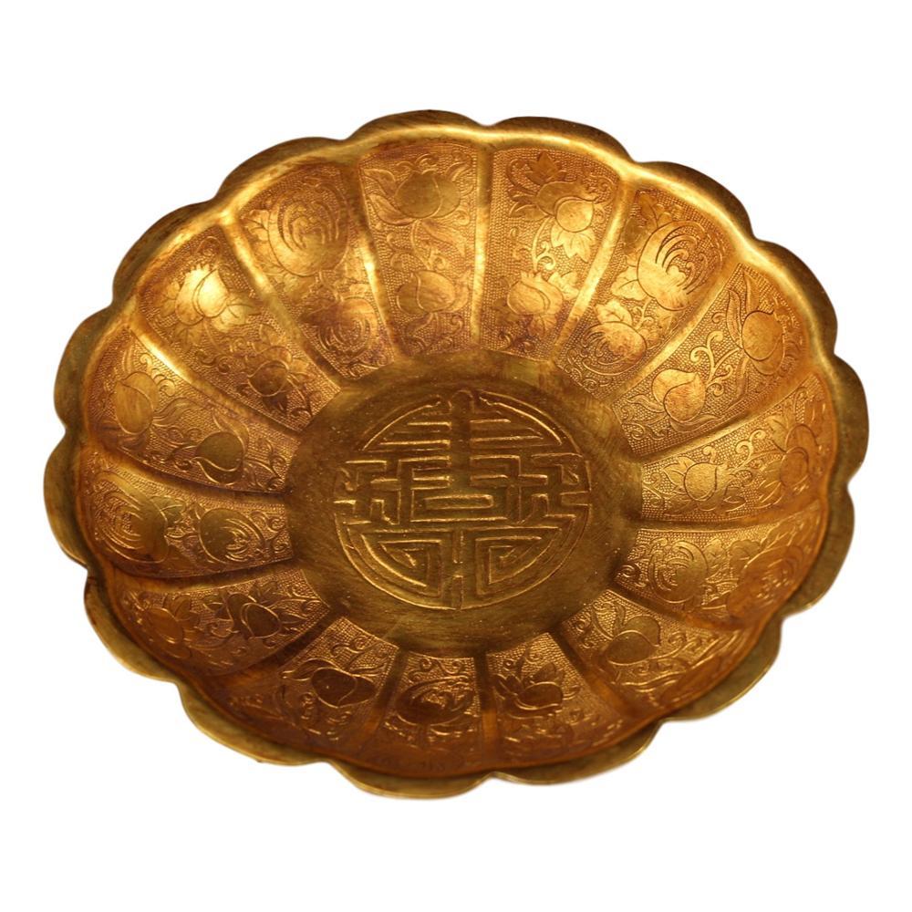 Laojunlu de Cobre Feito à Mão Placa de Pétala Coleção de Coleção Puro Antigo Esculpida Dourada Imitação Bronze Obra-prima de