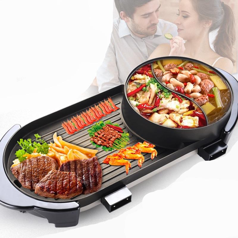 الكورية متعددة الوظائف الكهربائية المشوي وشواية Shabu غير عصا التدفئة اليوسفي بطة وعاء وعاء كهربائي دخاني