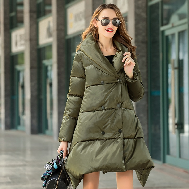 Women down coats luxury autumn winter warm fashion 90% white duck down Jackets Female lady long puffer hooded casual army loose