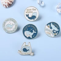 whale enamel pins sea protect ocean animal stay away from plastic waste brooches bag hat lapel pin gift for environmentalist