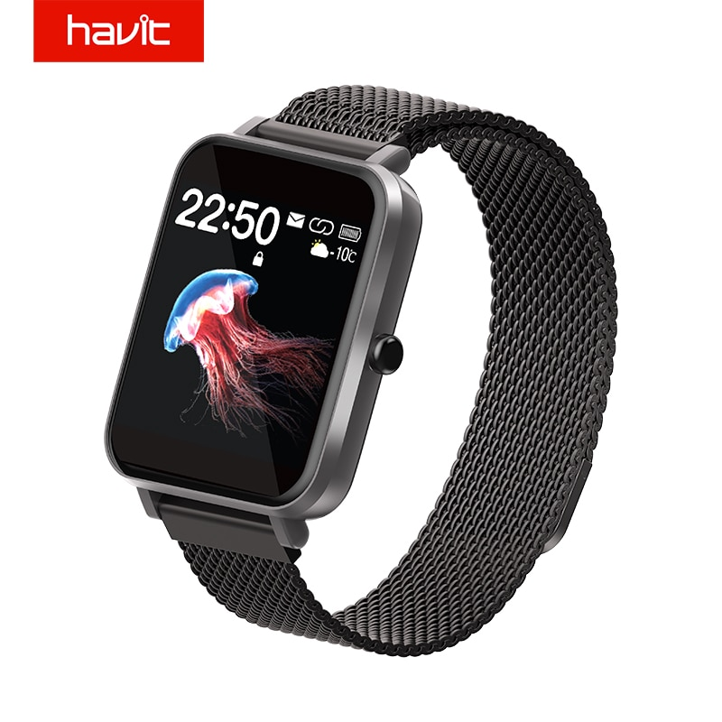 HAVIT Fitness Tracker Smart Watch Blood Pressure Measurement IPX68 3ATM Screen 1.54 inches Watch 7 Language APP 17 Language