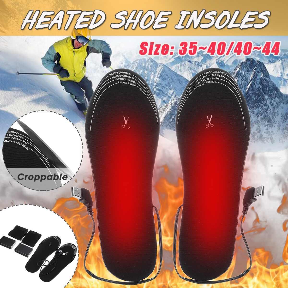 1 par ue 34-40/40-44 tamanho palmilhas de sapato aquecido palmilhas de aquecimento de bateria elétrica inverno aquecido pé aquecedor quente almofada