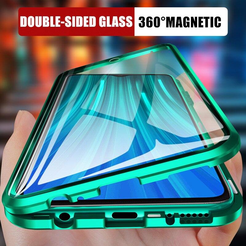 Funda de teléfono para Xiaomi magnético de Metal 360 Redmi 8 8A Note 8 7 K20 Pro cubierta completa de cristal para Xiaomi 9 9e 9T CC9e Fliq carcasas