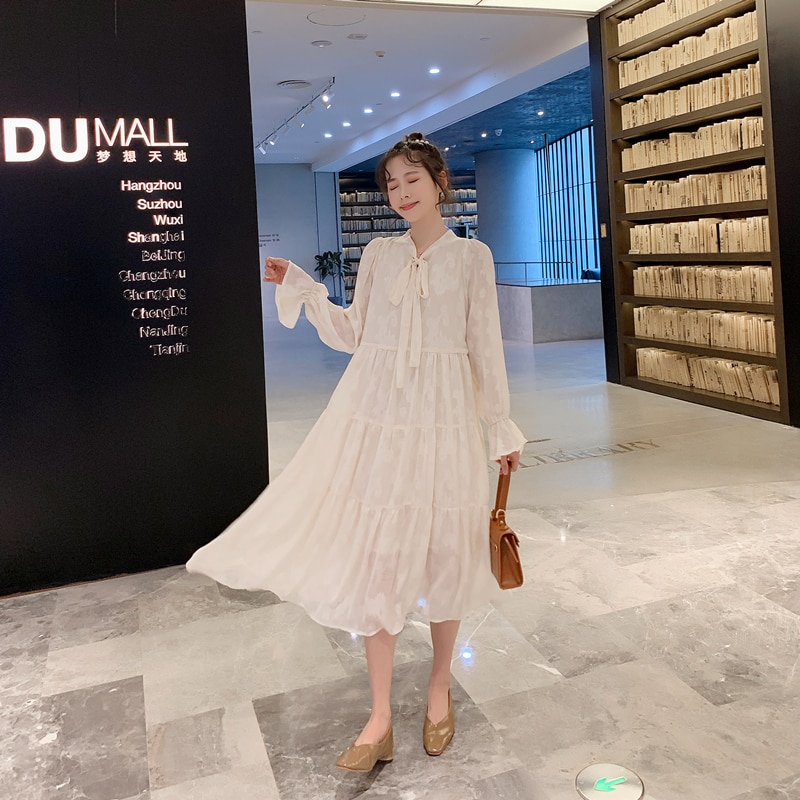 8113 2020 Spring Korean Fashion Maternity Maxi Long Dress Plus Size Loose Clothes for Pregnant Women Sweet Long Sleeve Pregnancy enlarge