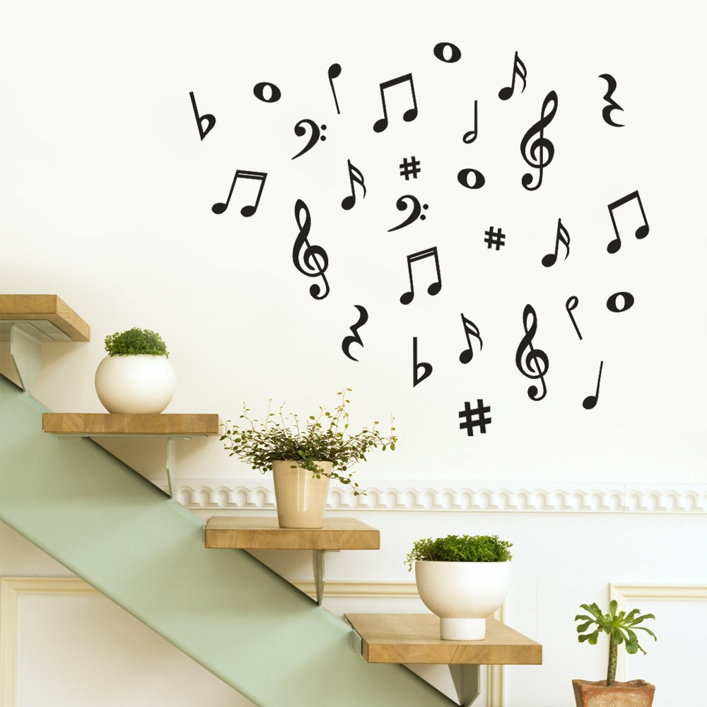 Etiqueta de la pared de la nota Musical arte extraíbles vinilo Mural para habitación de la casa decoración de pared pegatinas envío decoración hogar moderno Nuevo