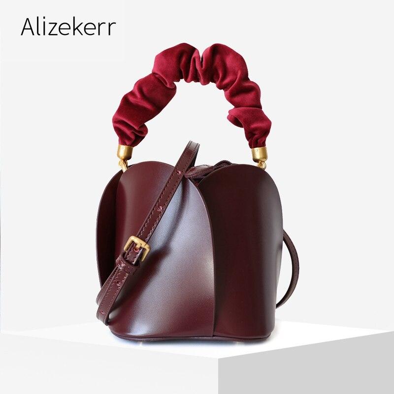 حقيبة يد نسائية على شكل زهرة ، حقيبة يد نسائية ، تصميم شتوي ، مقبض قابل للطي قابل للإزالة ، حقيبة كتف من الجلد الطبيعي ، 2019
