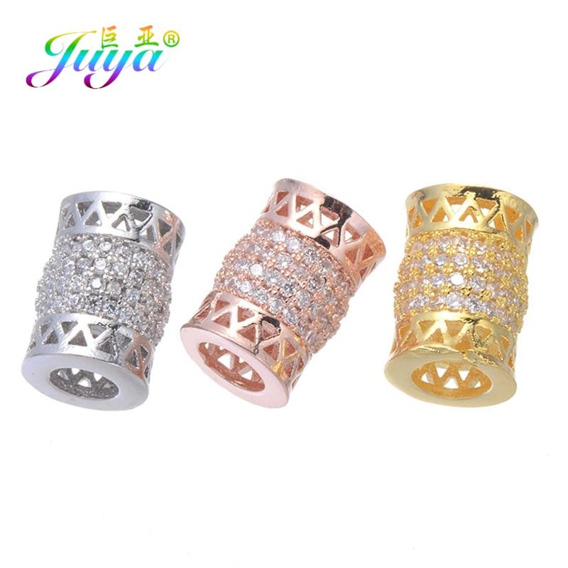Juya 2 pçs/lote diy jóias charme espaçador contas suprimentos micro pave zircão tubo contas para pérolas de pedra natural jewlery fazendo