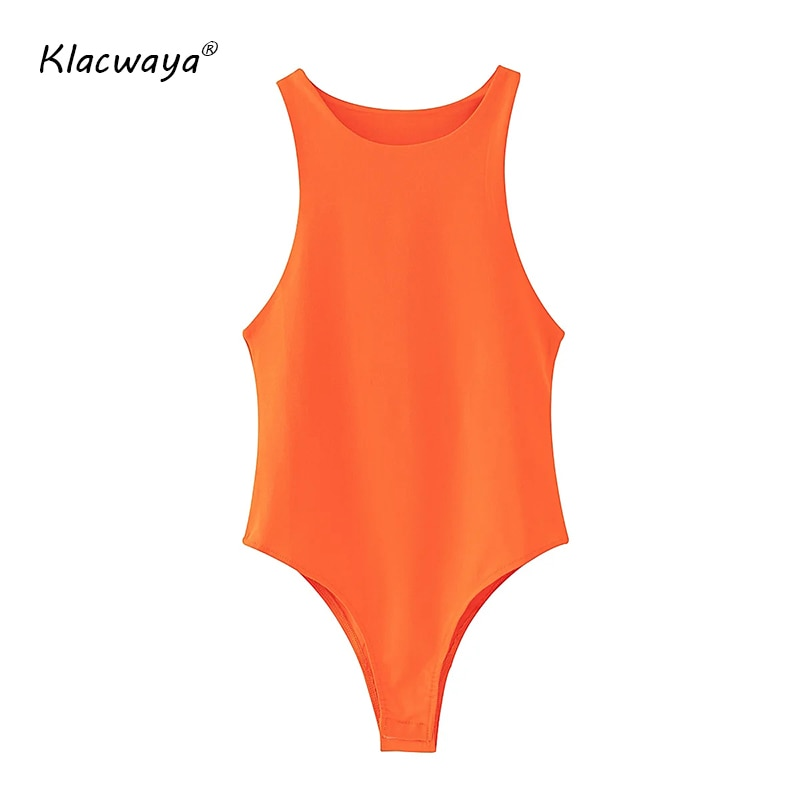 2020 Summer New Women Sexy BodySuit Girl Yellow Casual Slim Jumpsuit O Neck Streetwear Blue Off Shoulder Romper Orange Bodycons