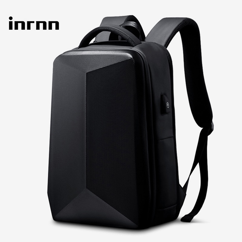 Inrnn موضة حقيبة ظهر ذات معدن صلب مضاد للسرقة TSA قفل الرجال حقائب الظهر الذكور 15.6 بوصة محمول على ظهره مقاوم للماء حقيبة سفر Mochila