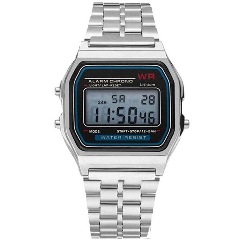 СВЕТОДИОДНЫЙ Цифровой Водонепроницаемый Кварцевые наручные часы платье золотые наручные часы для женщин мужчин мужские часы Топ бренд класса люкс Masculino Reloj