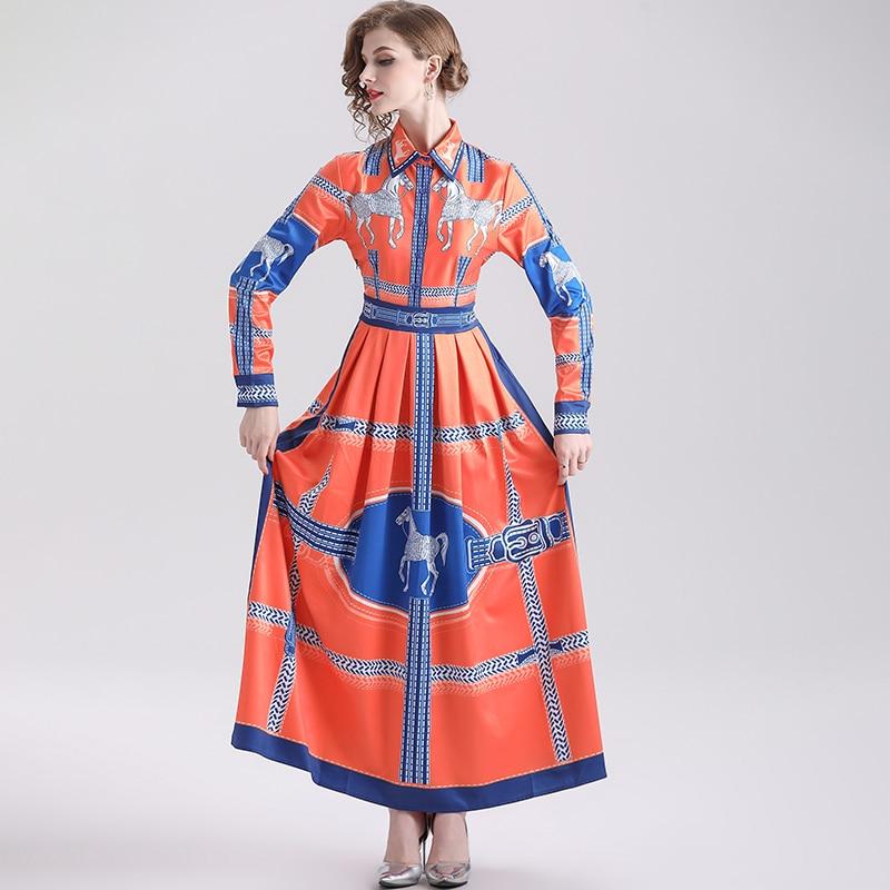 خمر الخريف فساتين متوسطة الطول المرأة منتصف الشرق الحصان طباعة الكاحل طول بدوره إلى أسفل طوق أنيقة طويلة الأكمام موضة فستان طويل 2021