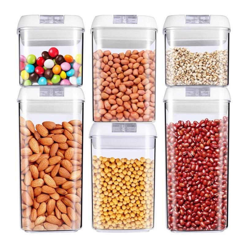 محكم الغذاء تخزين مستلزمات الحاويات-6 قطعة مخزن المطبخ منظمة علب بلاستيكية مع أغطية دائمة تسميات مجموعة أقلام