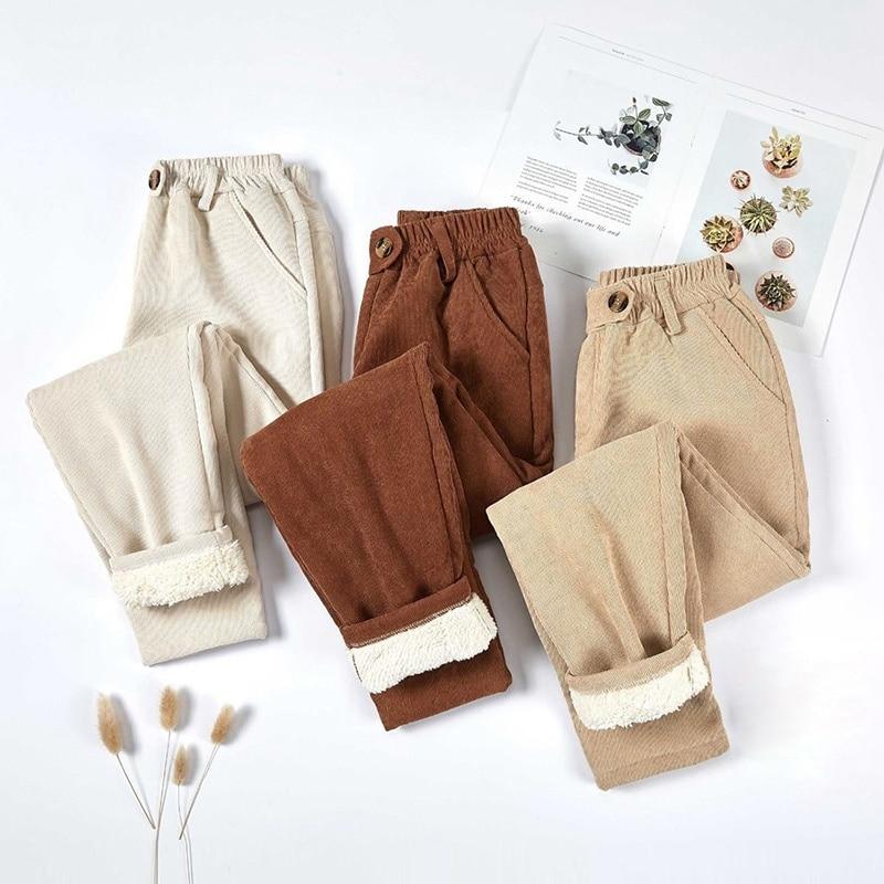 Женские вельветовые брюки, толстые бархатные повседневные брюки, женские теплые брюки, зимние шаровары с эластичным поясом, свободные брюк...