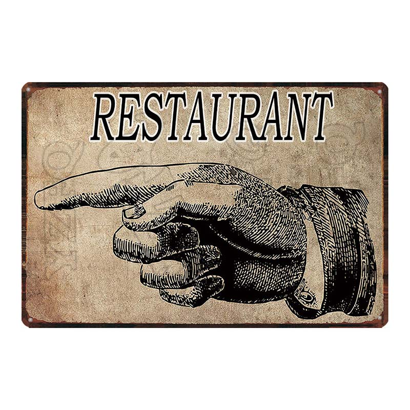 【YZFQ】Retro Finger Kitchen Plaque Metal Vintage Tin Sign Wall Restaurant  Home Art Shop VIP Restrooms Decor DU-5922A