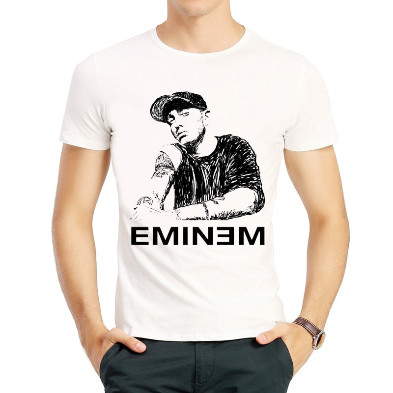 Camiseta de Eminem de Color blanco para hombre, ropa de manga corta con Logo de Eminem, camisetas, camisetas, camiseta de moda, camiseta Eminem